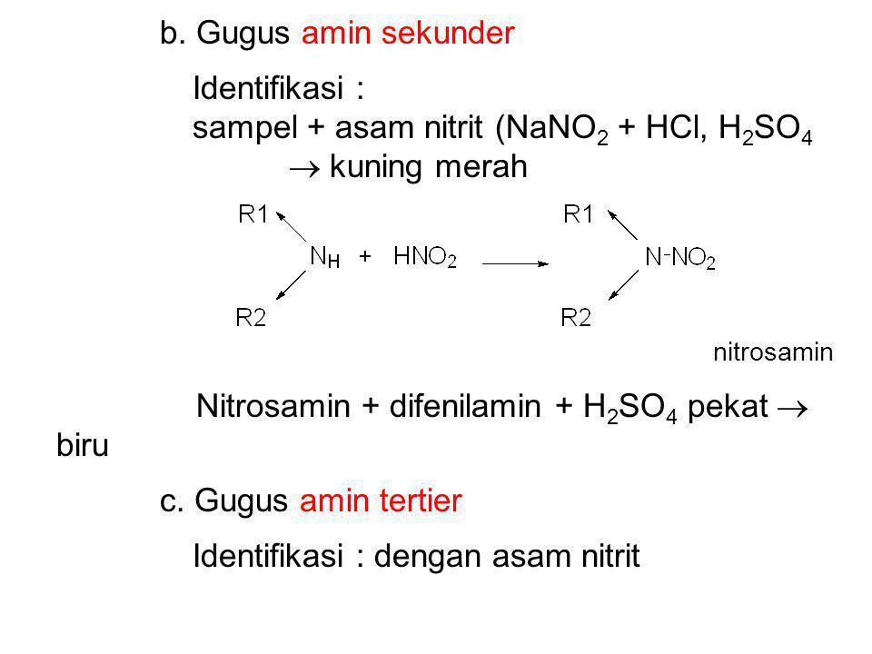 b. Gugus amin sekunder Identifikasi : sampel + asam nitrit (NaNO 2 + HCl, H 2 SO 4  kuning merah nitrosamin Nitrosamin + difenilamin + H 2 SO 4 pekat