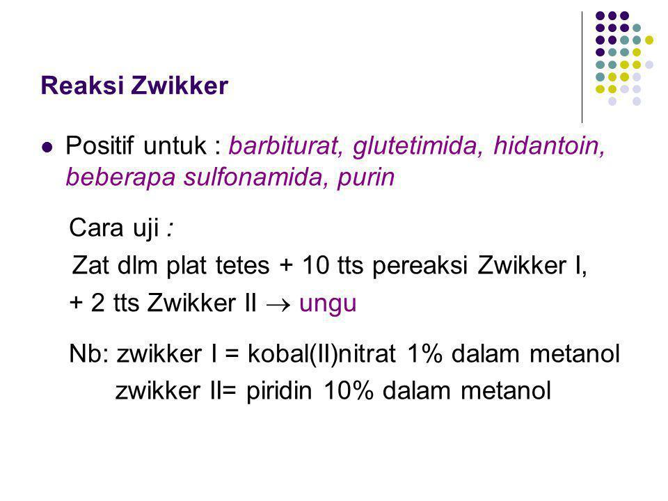 Reaksi Zwikker Positif untuk : barbiturat, glutetimida, hidantoin, beberapa sulfonamida, purin Cara uji : Zat dlm plat tetes + 10 tts pereaksi Zwikker I, + 2 tts Zwikker II  ungu Nb: zwikker I = kobal(II)nitrat 1% dalam metanol zwikker II= piridin 10% dalam metanol