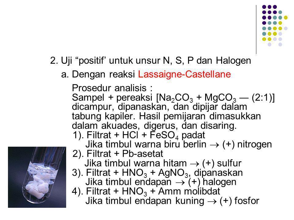 2.Uji positif' untuk unsur N, S, P dan Halogen a.