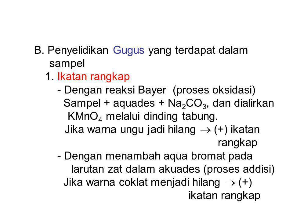 B.Penyelidikan Gugus yang terdapat dalam sampel 1.