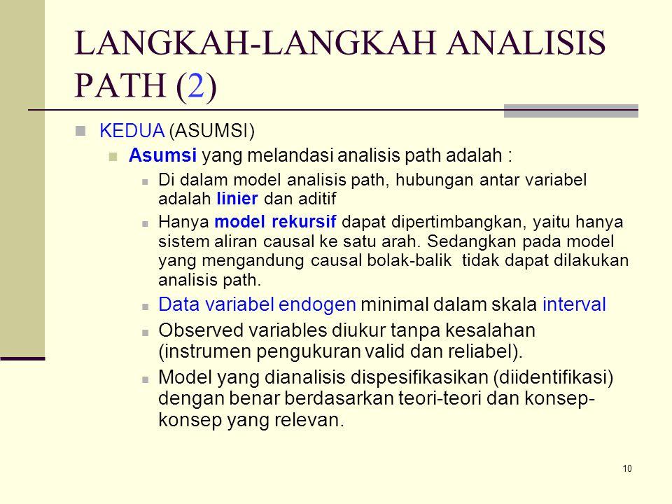 10 LANGKAH-LANGKAH ANALISIS PATH (2) KEDUA (ASUMSI) Asumsi yang melandasi analisis path adalah : Di dalam model analisis path, hubungan antar variabel adalah linier dan aditif Hanya model rekursif dapat dipertimbangkan, yaitu hanya sistem aliran causal ke satu arah.