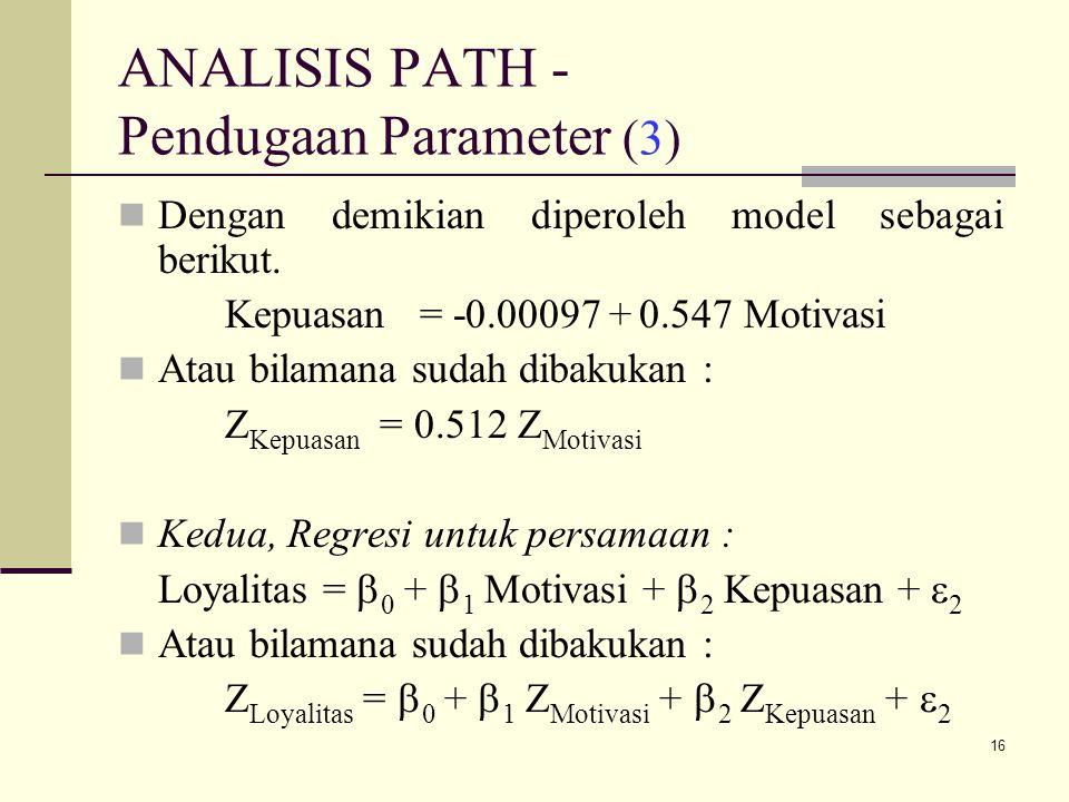 16 ANALISIS PATH - Pendugaan Parameter (3) Dengan demikian diperoleh model sebagai berikut.