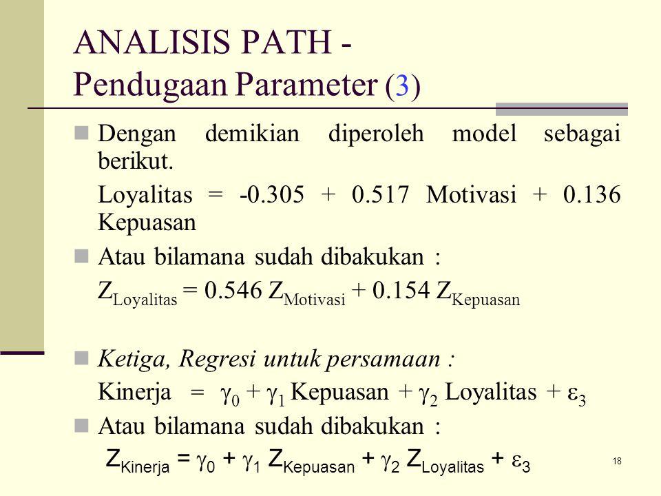 18 ANALISIS PATH - Pendugaan Parameter (3) Dengan demikian diperoleh model sebagai berikut.