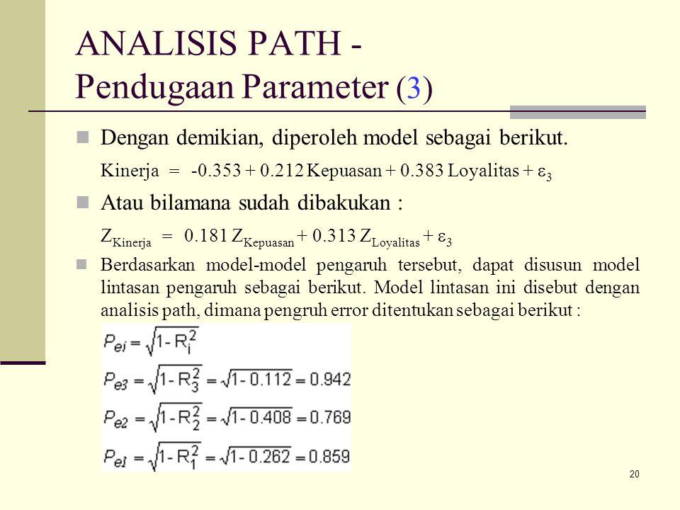 20 ANALISIS PATH - Pendugaan Parameter (3) Dengan demikian, diperoleh model sebagai berikut.