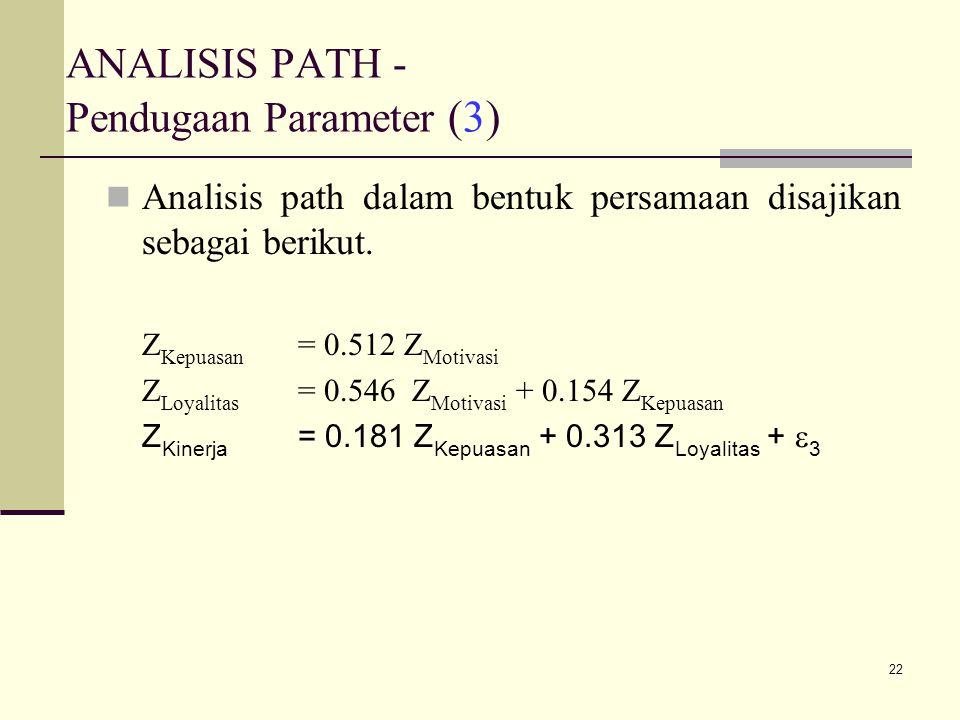 22 ANALISIS PATH - Pendugaan Parameter (3) Analisis path dalam bentuk persamaan disajikan sebagai berikut.