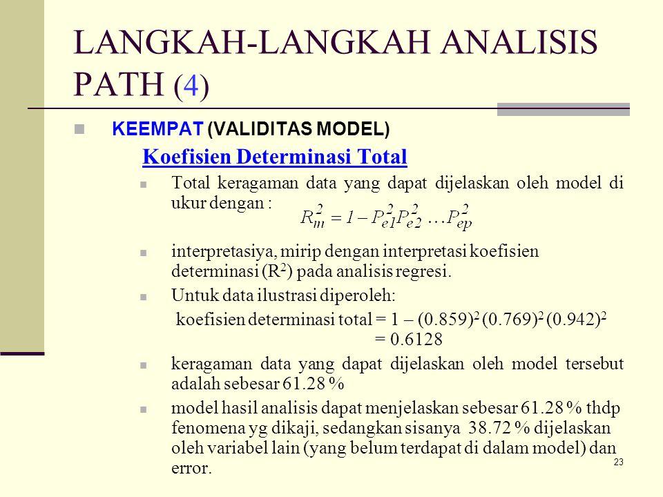 24 VALIDITAS MODEL (4) Theory Triming Uji validasi koefisien path pada setiap jalur untuk pengaruh langsung adalah sama dengan pada regresi, menggunakan nilai p dari uji t, yaitu pengujian koefisien regresi variabel dibakukan secara parsiil.