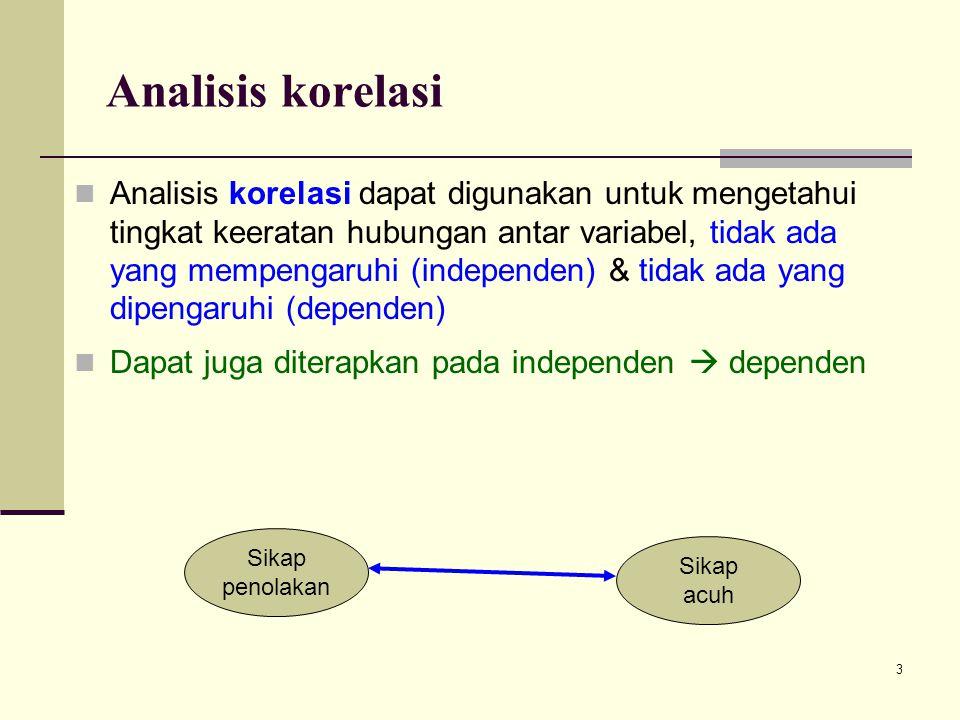 3 Analisis korelasi Analisis korelasi dapat digunakan untuk mengetahui tingkat keeratan hubungan antar variabel, tidak ada yang mempengaruhi (independen) & tidak ada yang dipengaruhi (dependen) Dapat juga diterapkan pada independen  dependen Sikap penolakan Sikap acuh