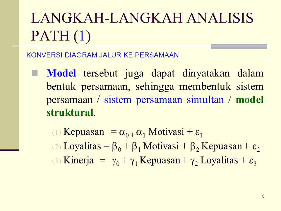 8 LANGKAH-LANGKAH ANALISIS PATH (1) Model tersebut juga dapat dinyatakan dalam bentuk persamaan, sehingga membentuk sistem persamaan / sistem persamaan simultan / model struktural.