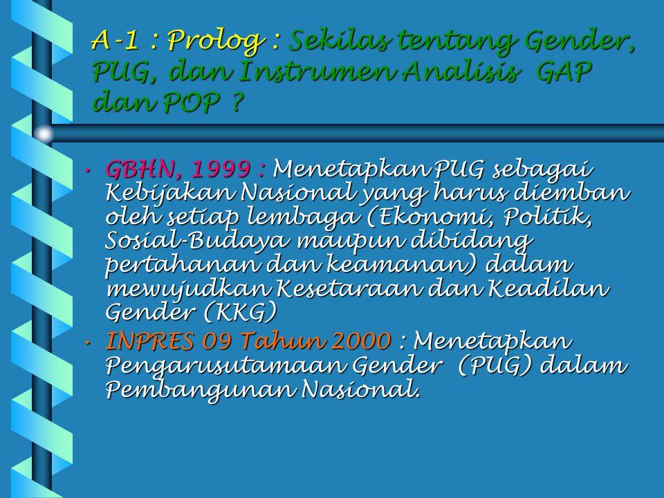 A-1 : Prolog : Sekilas tentang Gender, PUG, dan Instrumen Analisis GAP dan POP .