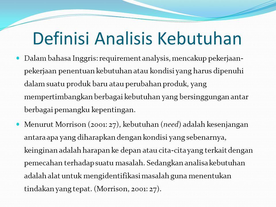 Definisi Analisis Kebutuhan Dalam bahasa Inggris: requirement analysis, mencakup pekerjaan- pekerjaan penentuan kebutuhan atau kondisi yang harus dipe