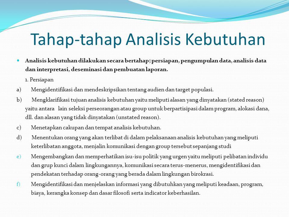 Tahap-tahap Analisis Kebutuhan Analisis kebutuhan dilakukan secara bertahap; persiapan, pengumpulan data, analisis data dan interpretasi, deseminasi d