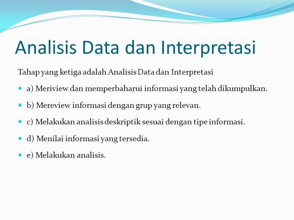 Analisis Data dan Interpretasi Tahap yang ketiga adalah Analisis Data dan Interpretasi a) Meriview dan memperbaharui informasi yang telah dikumpulkan.