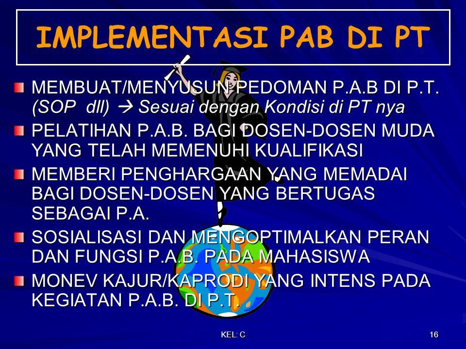 KEL: C 16 MEMBUAT/MENYUSUN PEDOMAN P.A.B DI P.T.