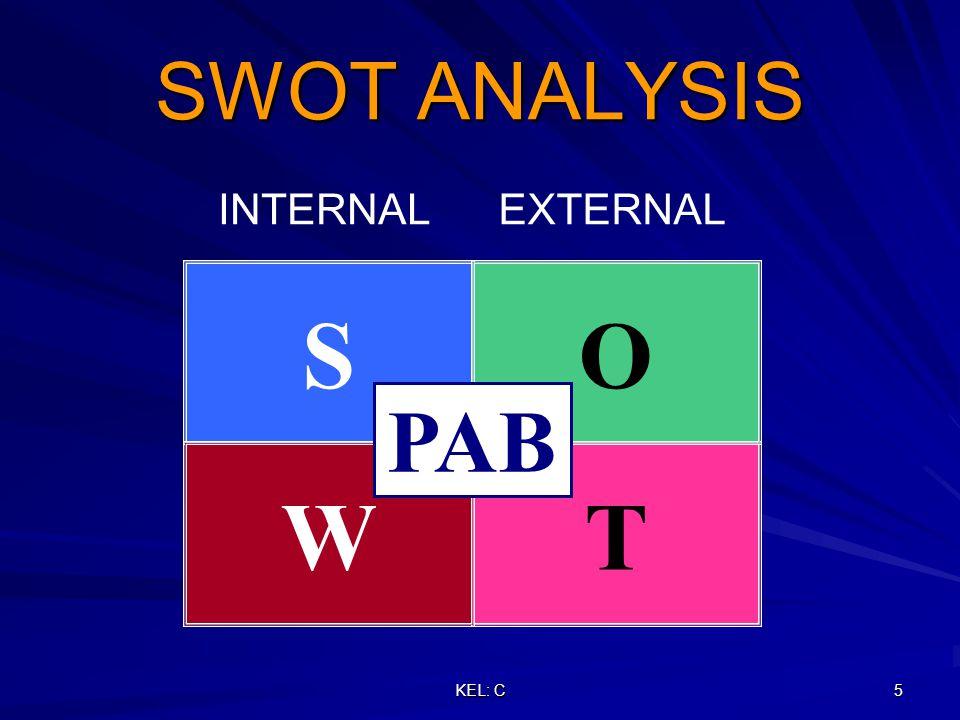 KEL: C 6 SWOT ANALYSIS INTERNALEXTERNAL STWO WINDOW OPPORTUNITIES IMPLEMENTASI PAB DI PT