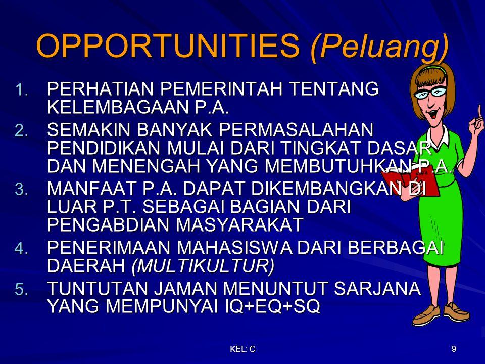 KEL: C 9 OPPORTUNITIES (Peluang) 1. PERHATIAN PEMERINTAH TENTANG KELEMBAGAAN P.A.