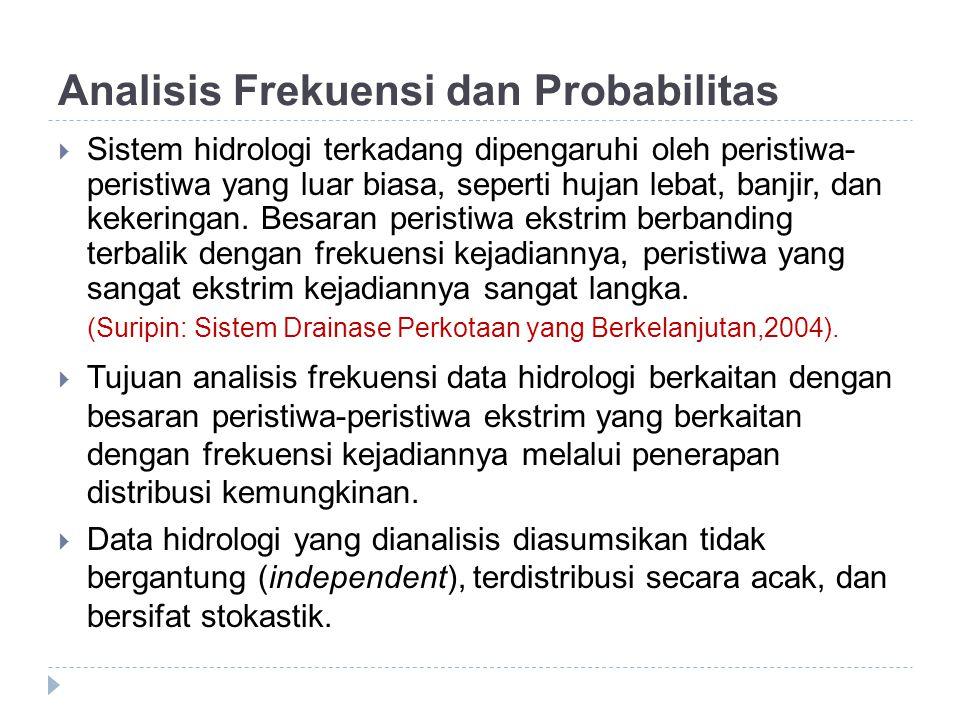 Analisis Frekuensi dan Probabilitas  Sistem hidrologi terkadang dipengaruhi oleh peristiwa- peristiwa yang luar biasa, seperti hujan lebat, banjir, d