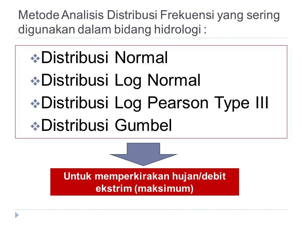 Metode Analisis Distribusi Frekuensi yang sering digunakan dalam bidang hidrologi :  Distribusi Normal  Distribusi Log Normal  Distribusi Log Pears