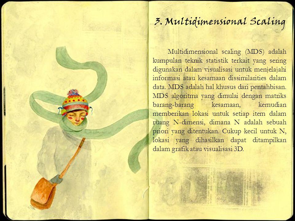 3. Multidimensional Scaling Multidimensional scaling (MDS) adalah kumpulan teknik statistik terkait yang sering digunakan dalam visualisasi untuk menj