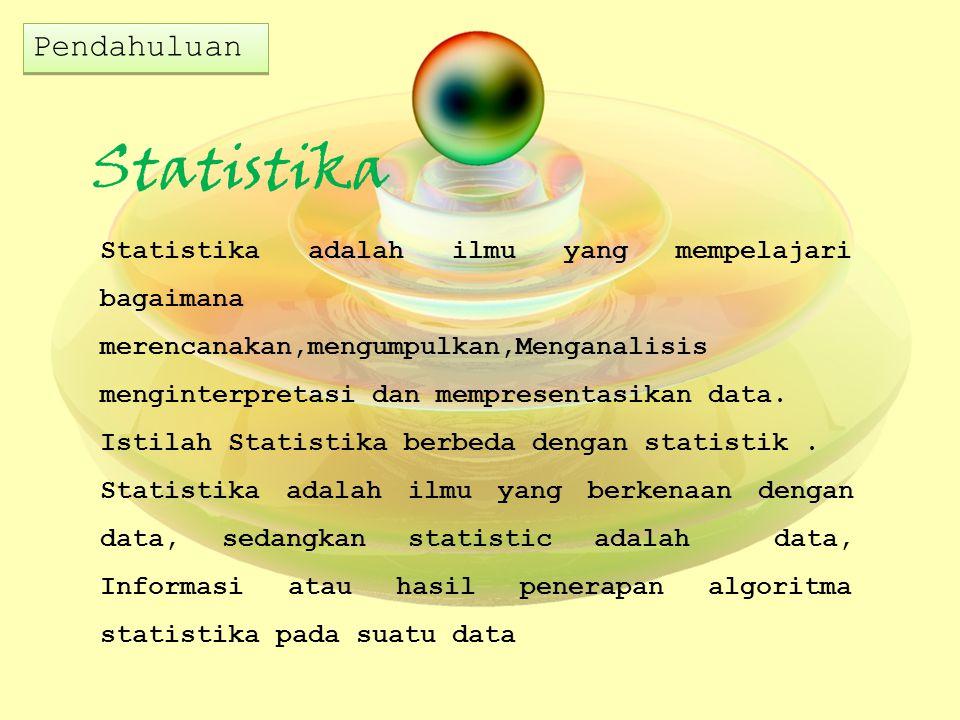 Statistika Statistika adalah ilmu yang mempelajari bagaimana merencanakan,mengumpulkan,Menganalisis menginterpretasi dan mempresentasikan data. Istila