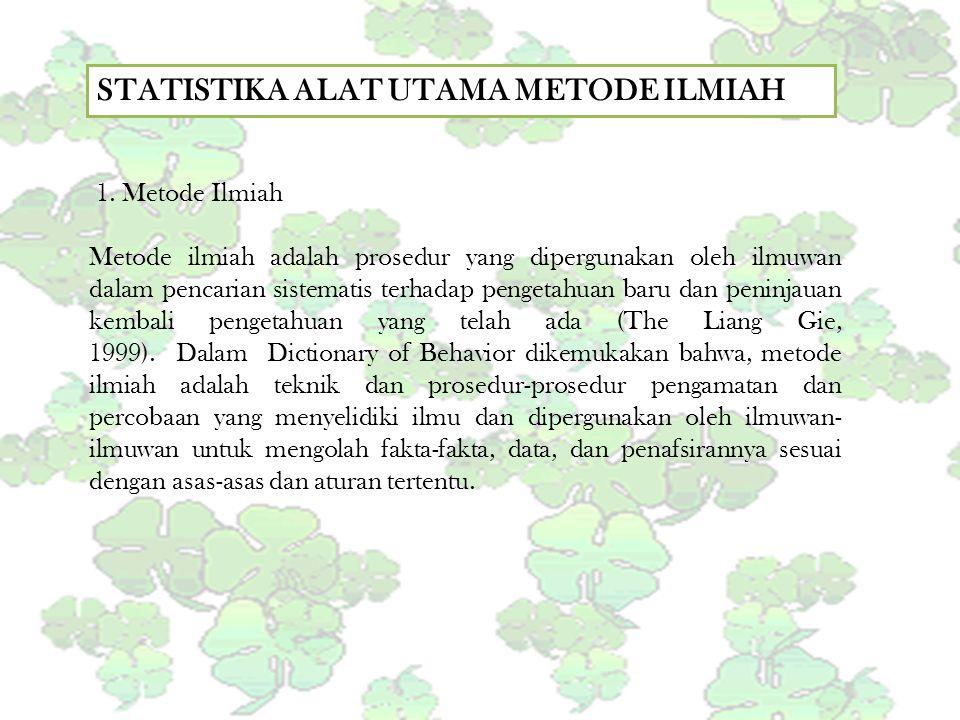STATISTIKA ALAT UTAMA METODE ILMIAH 1. Metode Ilmiah Metode ilmiah adalah prosedur yang dipergunakan oleh ilmuwan dalam pencarian sistematis terhadap