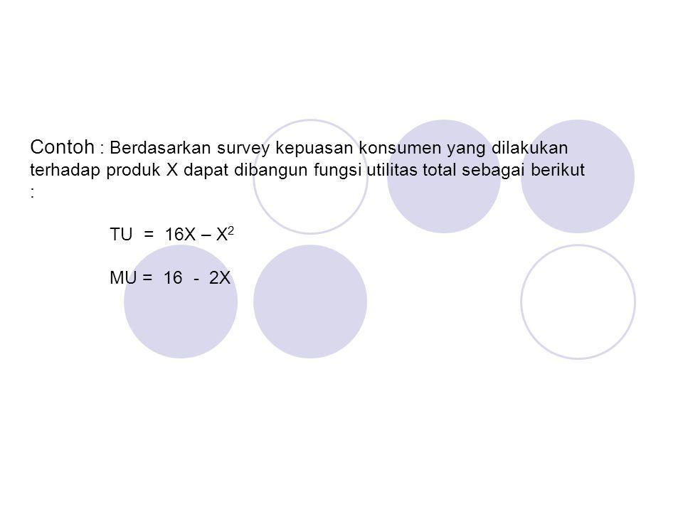 -Nilai utilitas total apabila dihubungkan dengan tingkat konsumsi dari konsumen perperiode waktu akan menghasilkan fungsi utilitas, dengan model : TU