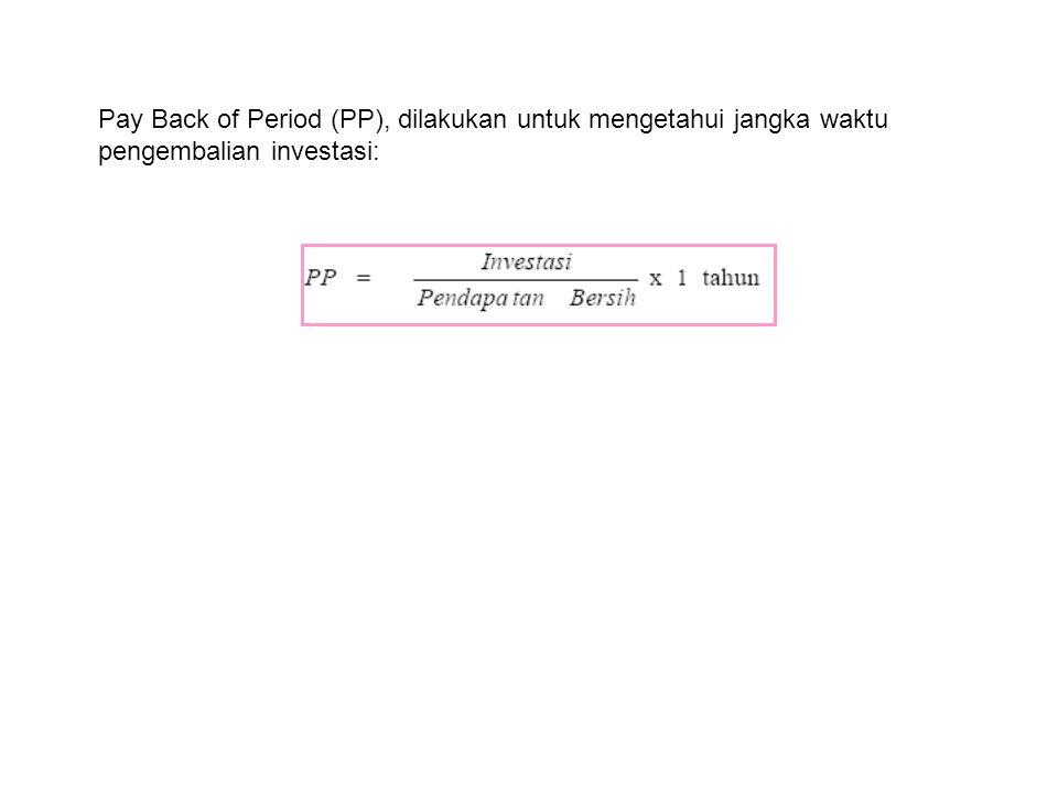 Pay Back of Period (PP), dilakukan untuk mengetahui jangka waktu pengembalian investasi: