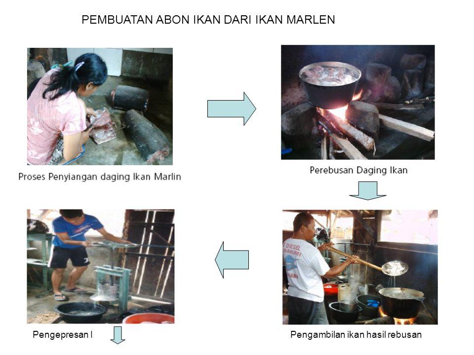 PEMBUATAN ABON IKAN DARI IKAN MARLEN Pengambilan ikan hasil rebusanPengepresan I