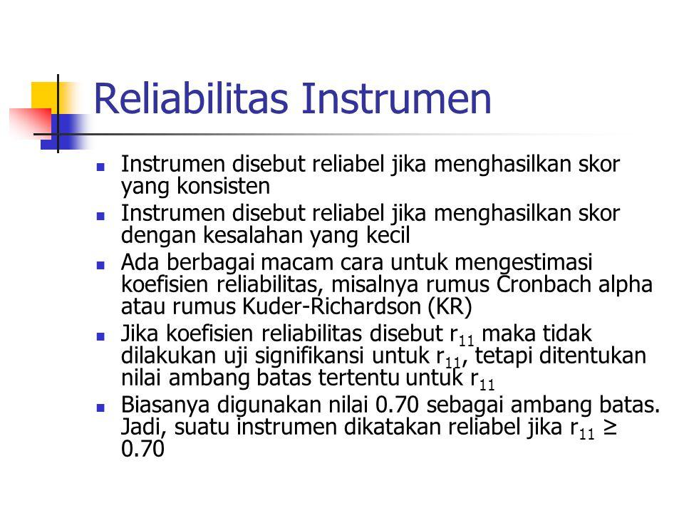 Reliabilitas Instrumen Instrumen disebut reliabel jika menghasilkan skor yang konsisten Instrumen disebut reliabel jika menghasilkan skor dengan kesal