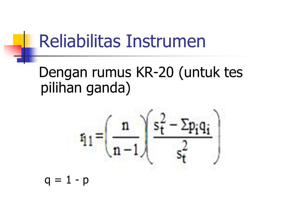 Reliabilitas Instrumen Dengan rumus KR-20 (untuk tes pilihan ganda) q = 1 - p