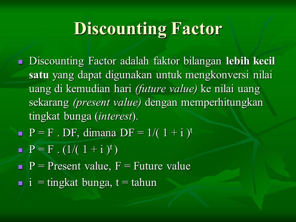 Discounting Factor Discounting Factor adalah faktor bilangan lebih kecil satu yang dapat digunakan untuk mengkonversi nilai uang di kemudian hari (fut