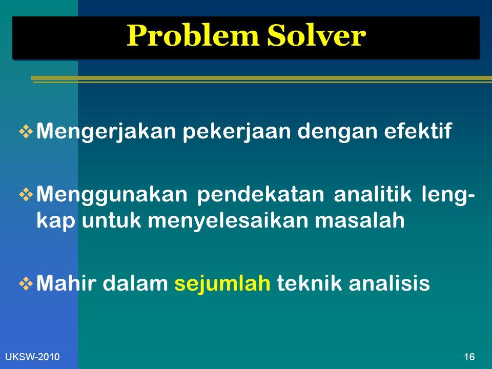 16UKSW-2010 Problem Solver  Mengerjakan pekerjaan dengan efektif  Menggunakan pendekatan analitik leng- kap untuk menyelesaikan masalah  Mahir dalam sejumlah teknik analisis