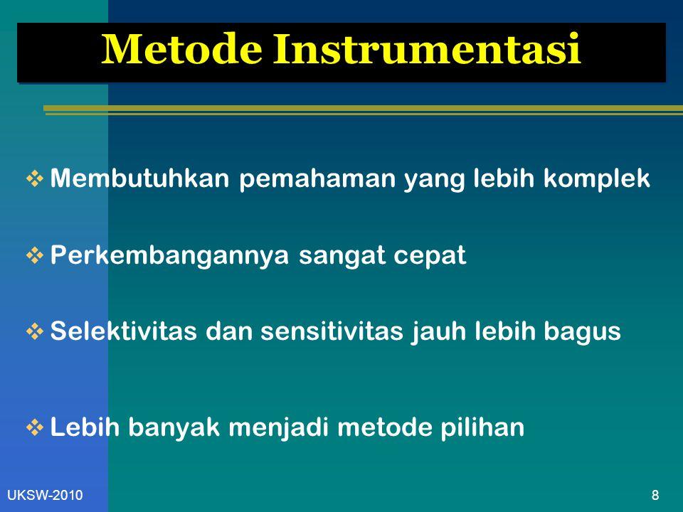 8UKSW-2010 Metode Instrumentasi  Membutuhkan pemahaman yang lebih komplek  Perkembangannya sangat cepat  Selektivitas dan sensitivitas jauh lebih b