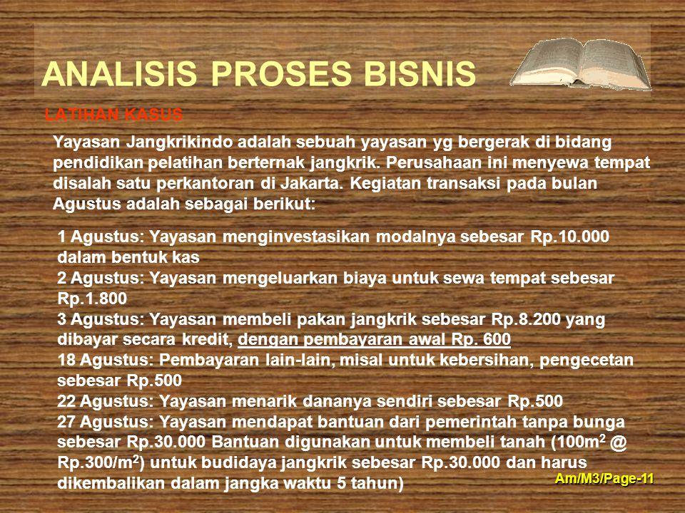 ANALISIS PROSES BISNIS Am/M3/Page-11 LATIHAN KASUS 1 Agustus: Yayasan menginvestasikan modalnya sebesar Rp.10.000 dalam bentuk kas 2 Agustus: Yayasan
