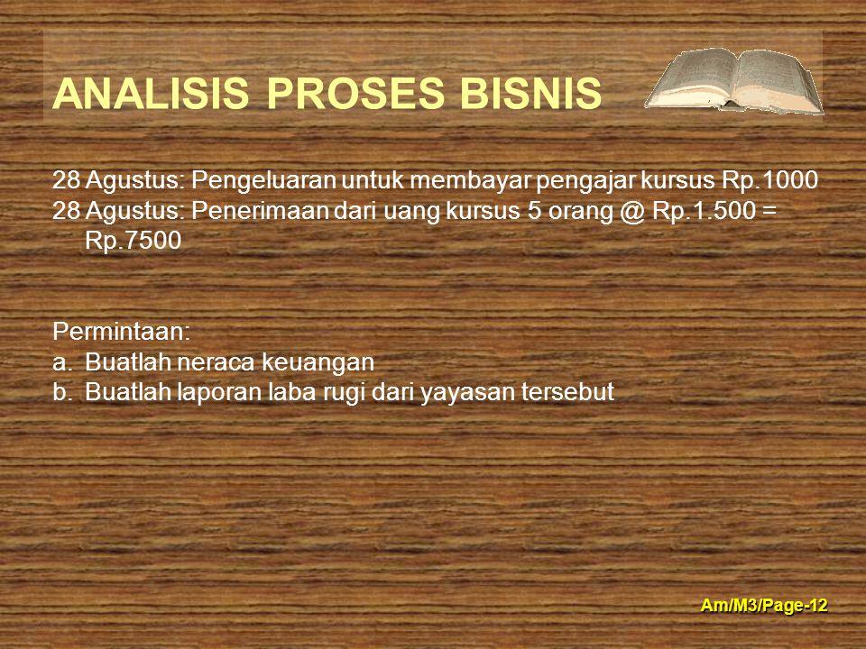 ANALISIS PROSES BISNIS Am/M3/Page-12 28 Agustus: Pengeluaran untuk membayar pengajar kursus Rp.1000 28 Agustus: Penerimaan dari uang kursus 5 orang @