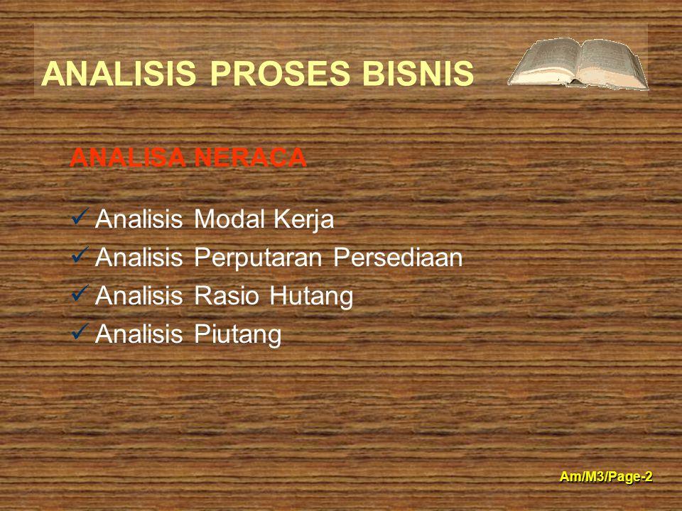 ANALISIS PROSES BISNIS Am/M3/Page-2 Analisis Modal Kerja Analisis Perputaran Persediaan Analisis Rasio Hutang Analisis Piutang ANALISA NERACA