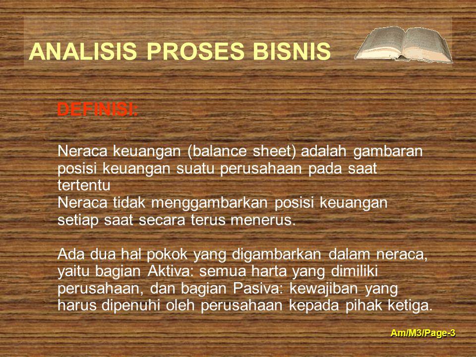 ANALISIS PROSES BISNIS Am/M3/Page-3 Neraca keuangan (balance sheet) adalah gambaran posisi keuangan suatu perusahaan pada saat tertentu Neraca tidak m