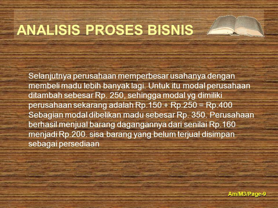 ANALISIS PROSES BISNIS Am/M3/Page-9 Selanjutnya perusahaan memperbesar usahanya dengan membeli madu lebih banyak lagi. Untuk itu modal perusahaan dita