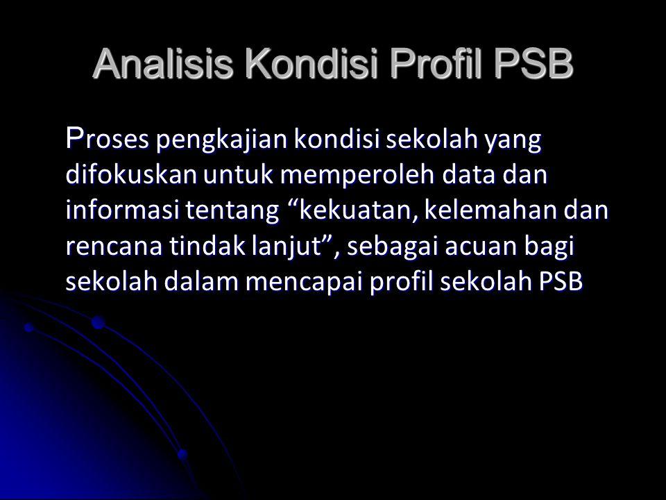 Analisis Kondisi Profil PSB P roses pengkajian kondisi sekolah yang difokuskan untuk memperoleh data dan informasi tentang kekuatan, kelemahan dan rencana tindak lanjut , sebagai acuan bagi sekolah dalam mencapai profil sekolah PSB