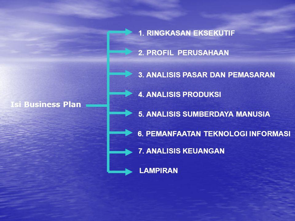 Isi Business Plan LAMPIRAN 1. RINGKASAN EKSEKUTIF 2. PROFIL PERUSAHAAN 3. ANALISIS PASAR DAN PEMASARAN 4. ANALISIS PRODUKSI 5. ANALISIS SUMBERDAYA MAN