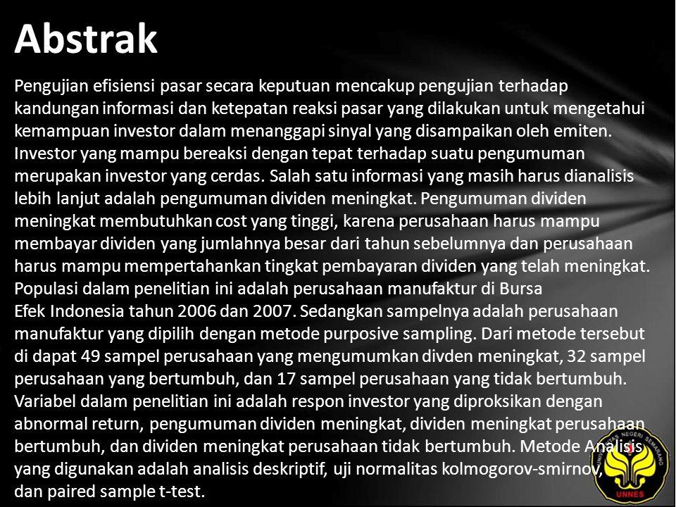 Kata Kunci Respon Investor, Dividen Meningkat, Perusahaan Bertumbuh, Perusahaan Tidak Bertumbuh.