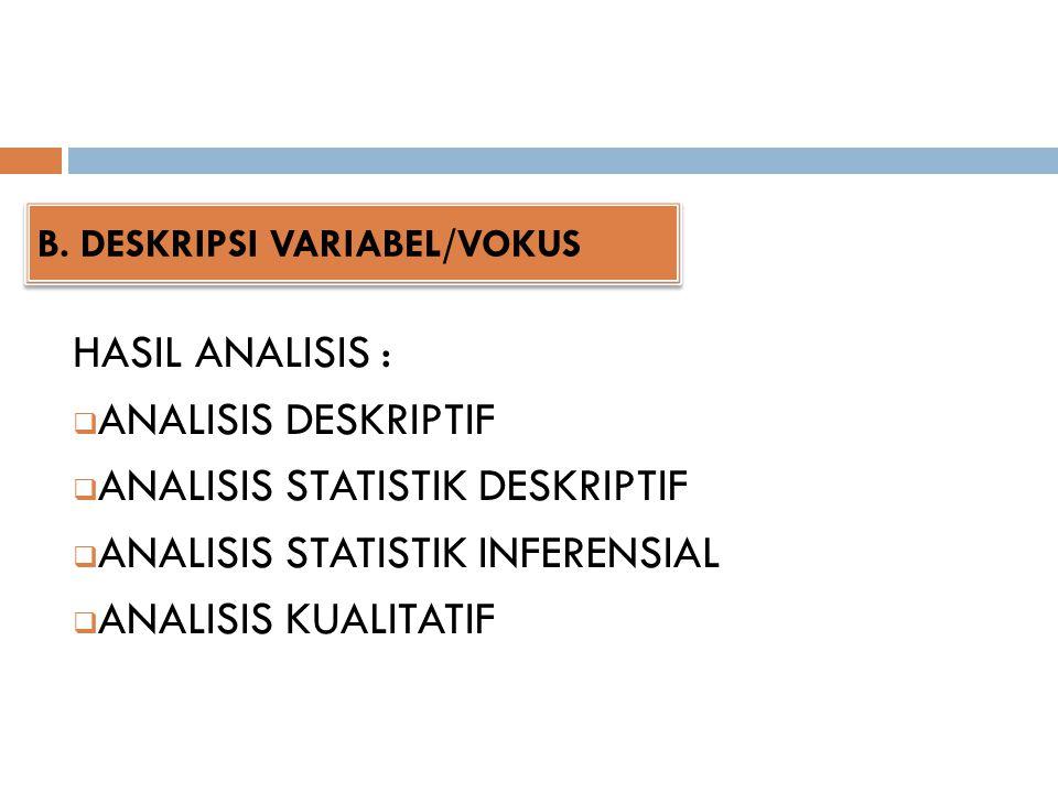 B. DESKRIPSI VARIABEL/VOKUS HASIL ANALISIS :  ANALISIS DESKRIPTIF  ANALISIS STATISTIK DESKRIPTIF  ANALISIS STATISTIK INFERENSIAL  ANALISIS KUALITA