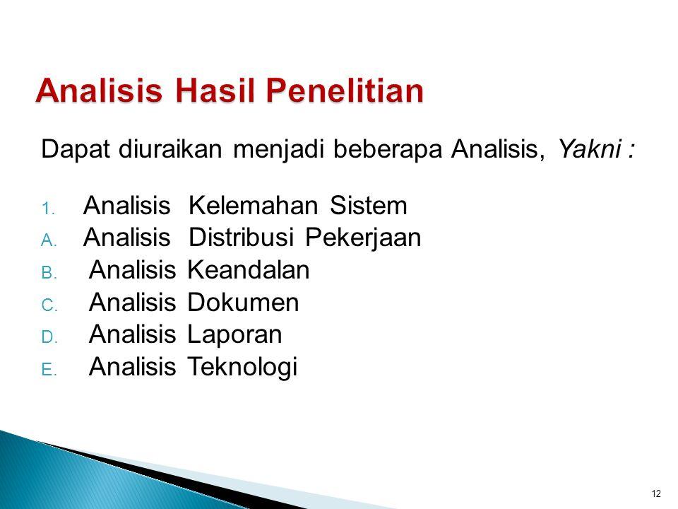 Dapat diuraikan menjadi beberapa Analisis, Yakni : 1. Analisis Kelemahan Sistem A. Analisis Distribusi Pekerjaan B. Analisis Keandalan C. Analisis Dok