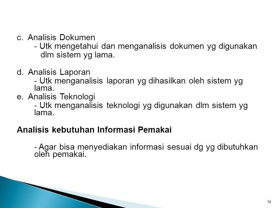 c. Analisis Dokumen - Utk mengetahui dan menganalisis dokumen yg digunakan dlm sistem yg lama. d. Analisis Laporan - Utk menganalisis laporan yg dihas