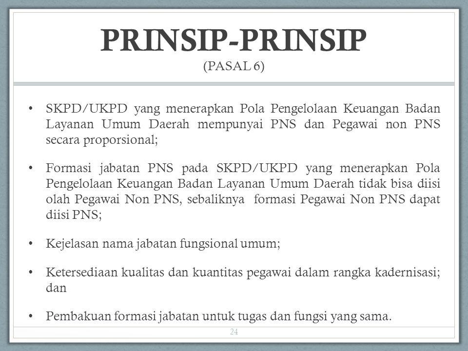 PRINSIP-PRINSIP (PASAL 6) SKPD/UKPD yang menerapkan Pola Pengelolaan Keuangan Badan Layanan Umum Daerah mempunyai PNS dan Pegawai non PNS secara propo