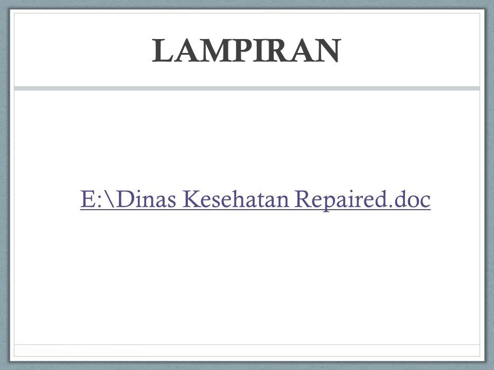 LAMPIRAN E:\Dinas Kesehatan Repaired.doc
