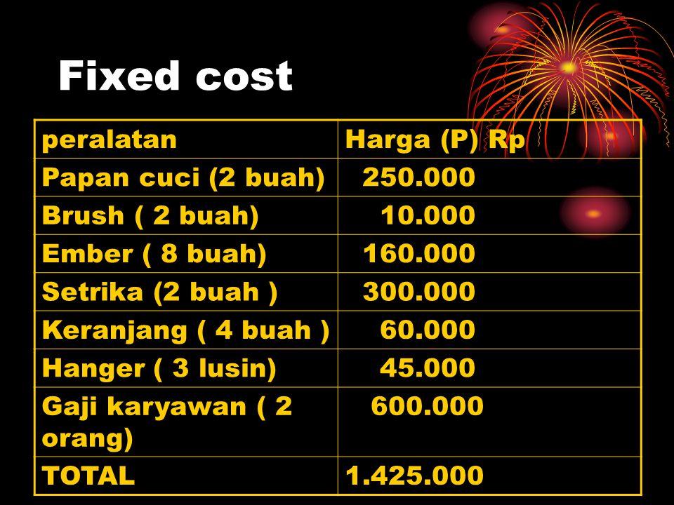 Fixed cost peralatanHarga (P) Rp Papan cuci (2 buah) 250.000 Brush ( 2 buah) 10.000 Ember ( 8 buah) 160.000 Setrika (2 buah ) 300.000 Keranjang ( 4 bu