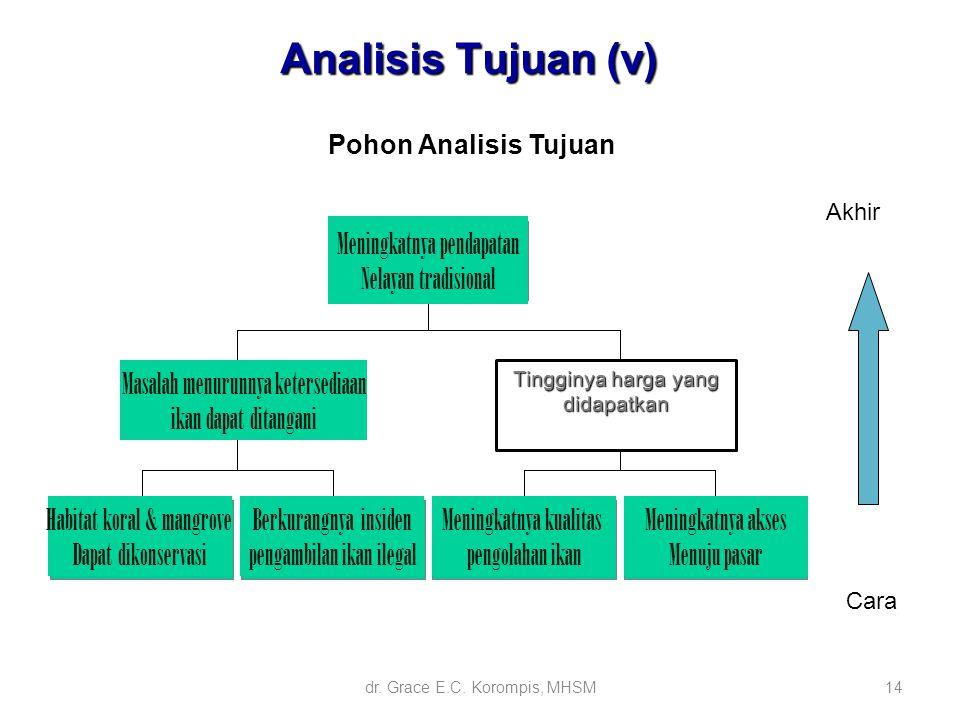 14 Pohon Analisis Tujuan Akhir Cara Analisis Tujuan (v) Tingginya harga yang didapatkan Meningkatnya pendapatan Nelayan tradisional Masalah menurunnya