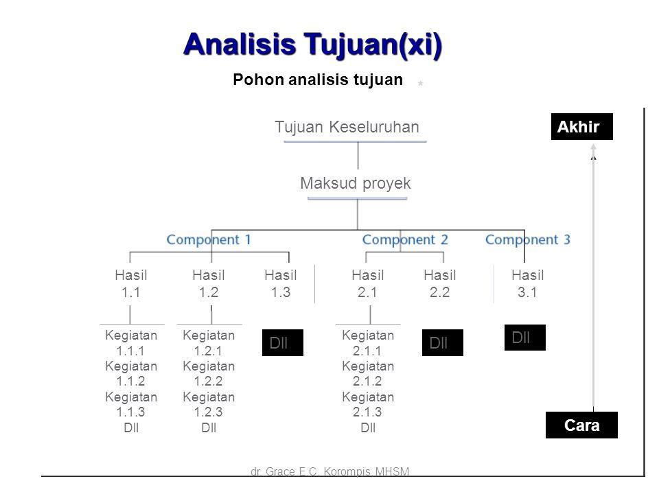 18 Analisis Tujuan(xi) Ends Means * Pohon analisis tujuan Tujuan Keseluruhan Maksud proyek Hasil 1.1 Hasil 1.2 Hasil 1.3 Hasil 2.1 Hasil 2.2 Hasil 3.1