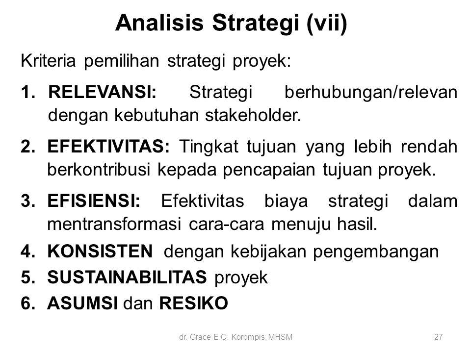 27 Analisis Strategi (vii) Kriteria pemilihan strategi proyek: 1.RELEVANSI: Strategi berhubungan/relevan dengan kebutuhan stakeholder. 2.EFEKTIVITAS: