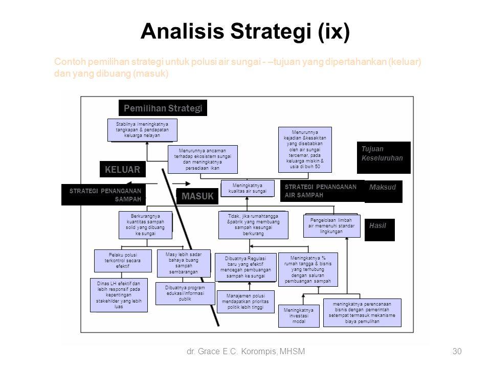 Analisis Strategi (ix) 30 Contoh pemilihan strategi untuk polusi air sungai - –tujuan yang dipertahankan (keluar) dan yang dibuang (masuk) Stabilnya /